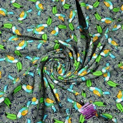 Cotton Jersey - toucans on a navy blue background