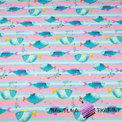 Cotton Jersey digital print - fish on pastel stripes