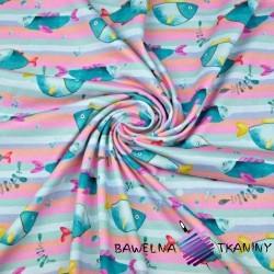 Cotton Jersey digital print - fish on pastel stripes