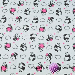 Cotton Jersey - pandas with hearts on light gray background