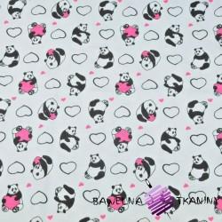 Dzianina Jersey pandy z serduszkami na jasnoszarym tle