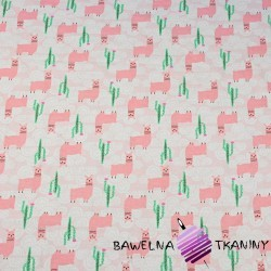 Cotton Jersey - pink alpacas on pink background