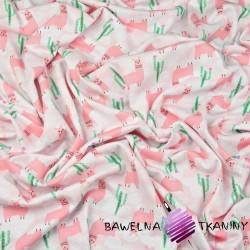 Dzianina Jersey różowe alpaki na różowym tle
