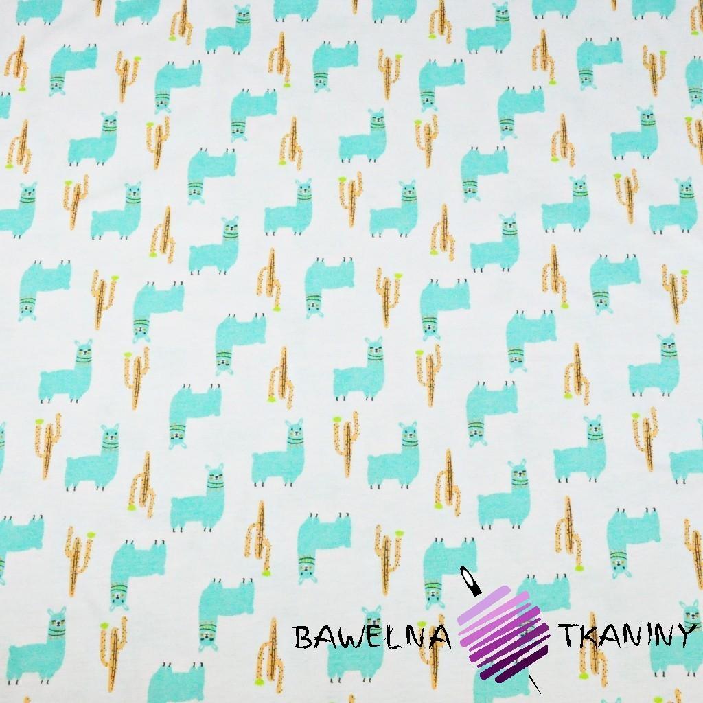 Cotton Jersey - mint alpacas on white background