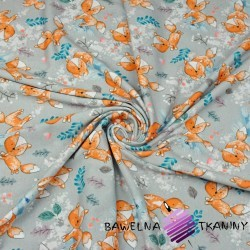 Cotton Jersey digital print - orange foxes on gray background
