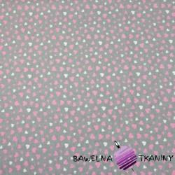 Dzianina Jersey różowo białe serduszka na szarym tle