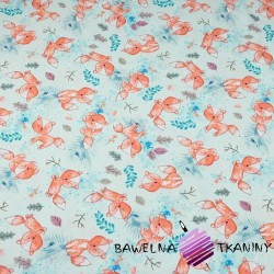 Cotton Jersey digital print - orange foxes on light blue background