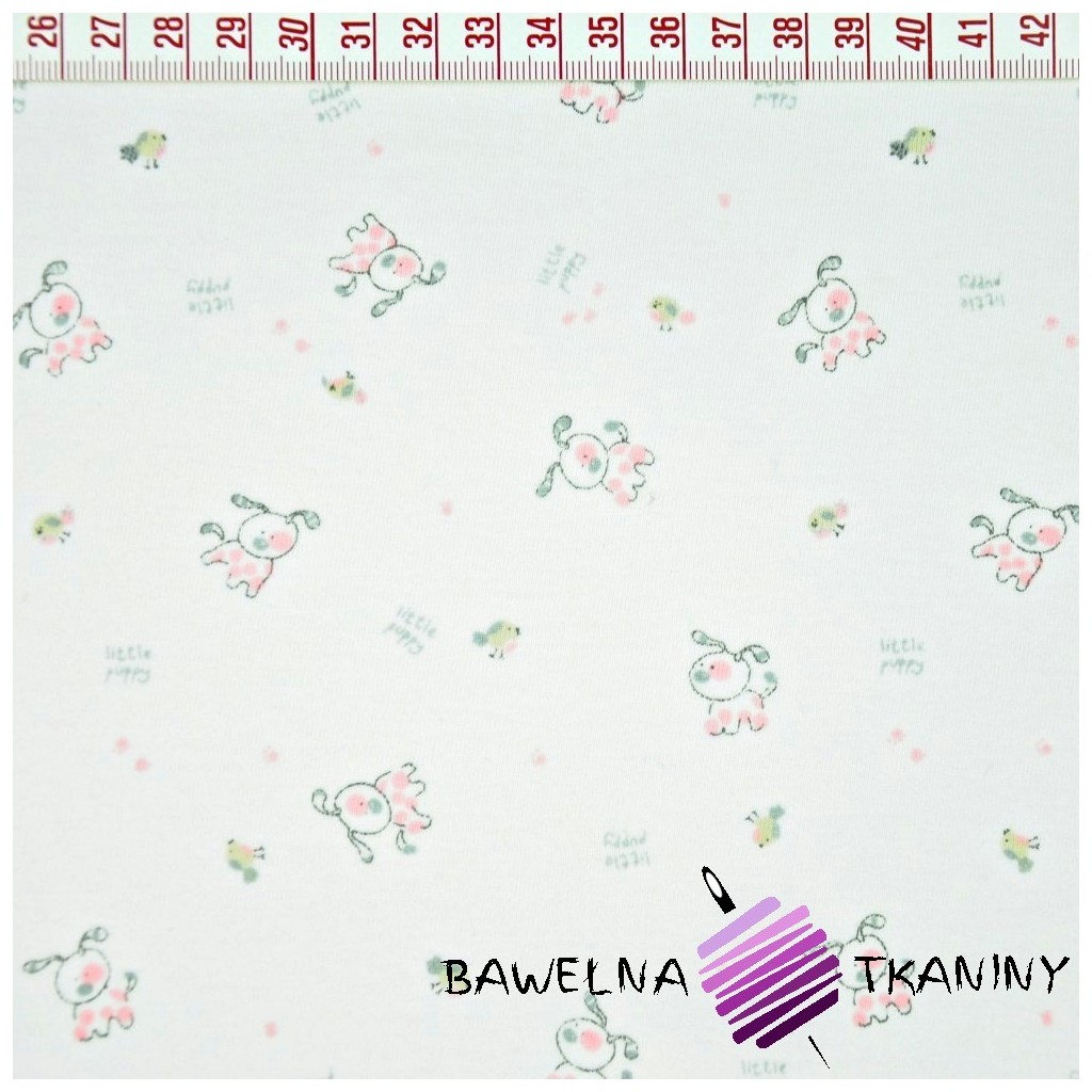 Cotton Jersey - pink dogs on white background