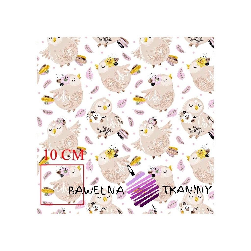 Bawełna ptaszki beżowe z różowymi piórkami na białym tle