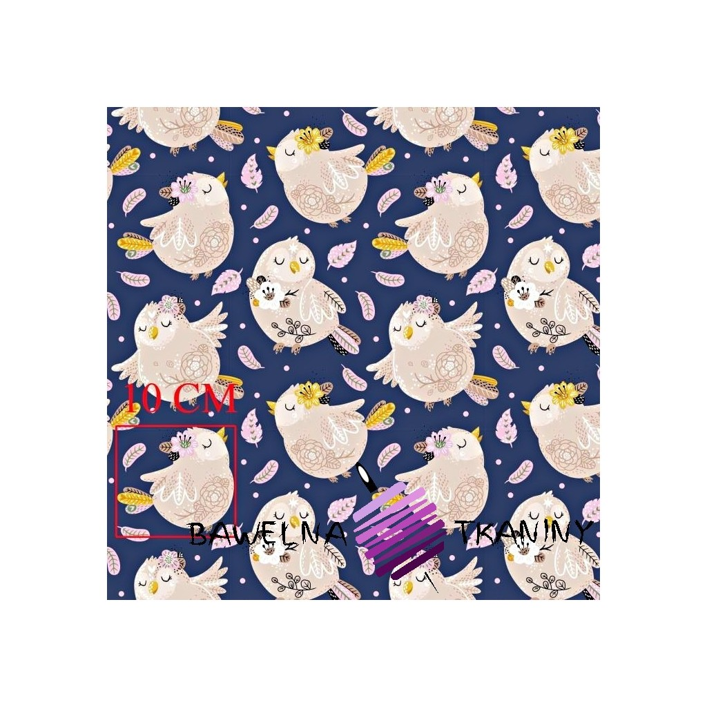 Cotton birds with pink feathers on navy background