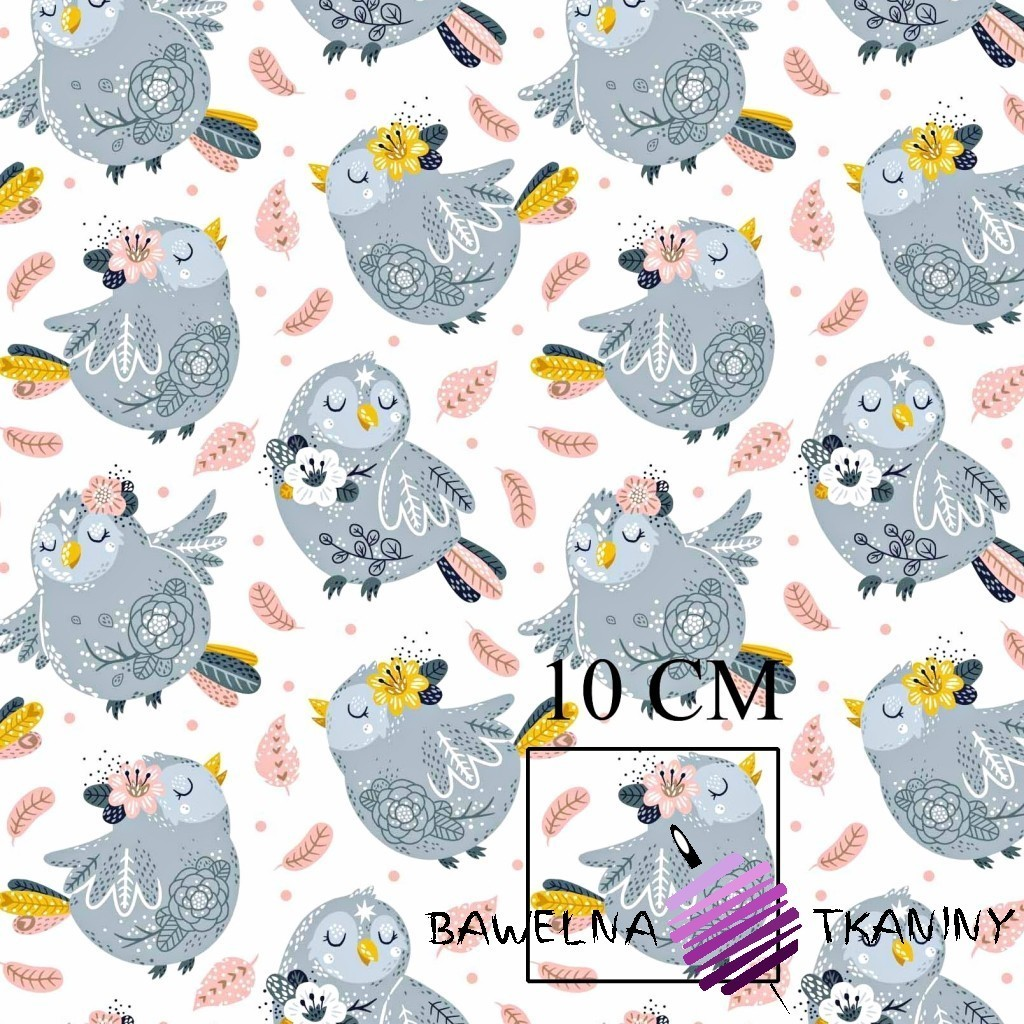 Cotton gray birds with pink feathers on white background