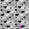 Bawełna owieczki rysowane czarne na szarym tle