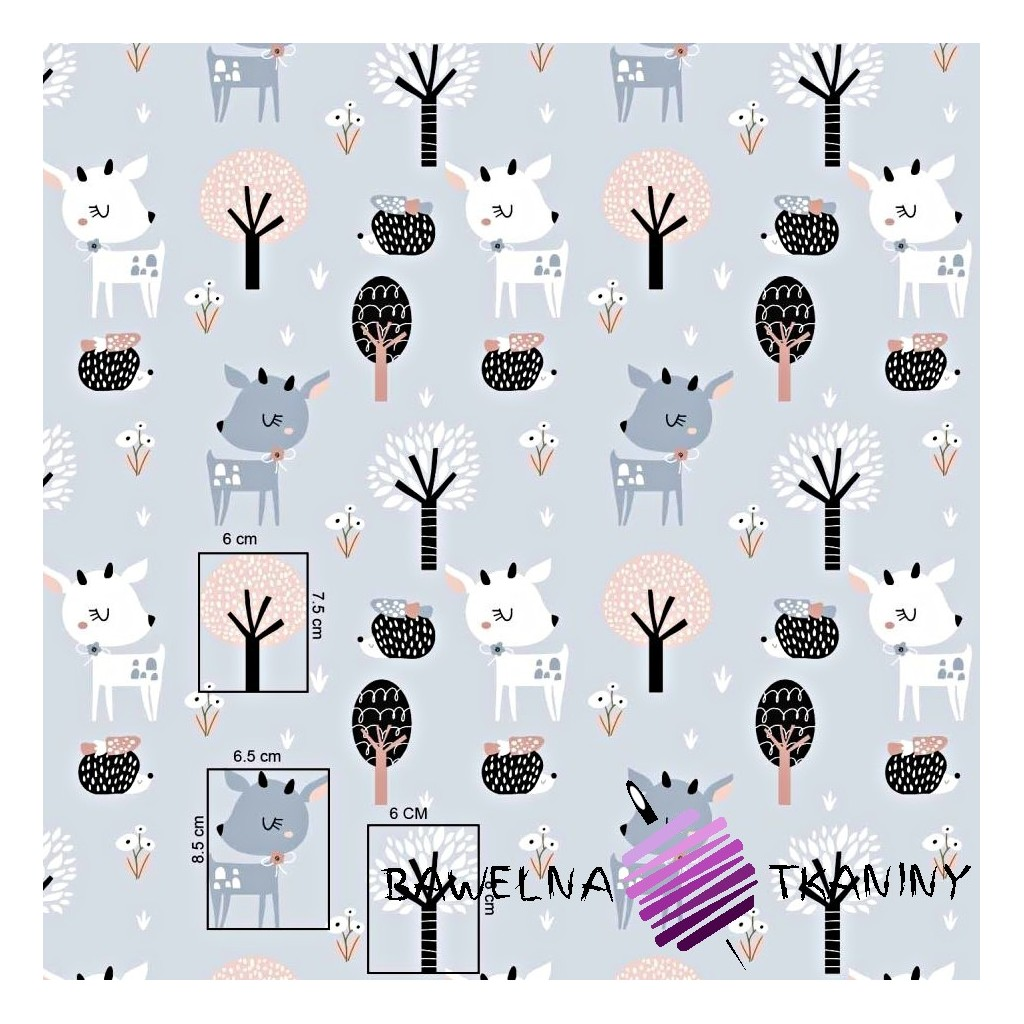 Cotton deer with trees on a gray background
