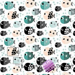 Cotton peppermint apricot fish with dots on a white background