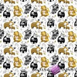 Bawełna zwierzęta rodzinki szaro beżowe na białym tle