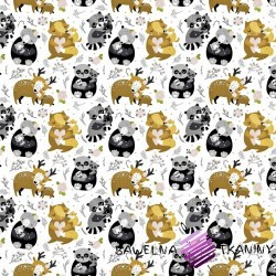 Cotton animals family gray-beige on a white background