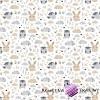 Bawełna sówki z króliczkami beżowo szare na białym tle