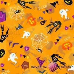 Cotton Jersey digital print - halloween on orange background