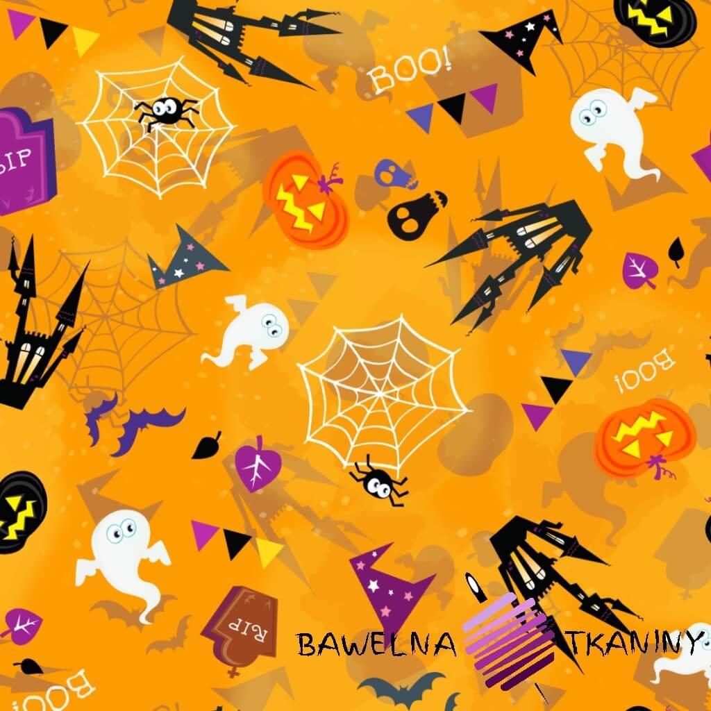 Dzianina Jersey druk cyfrowy - halloween na pomarańczowym tle