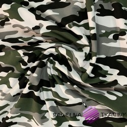 Dresówka pętelka - Moro zielono szaro biało czarne