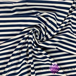 Cotton Jersey - navy & white stripes