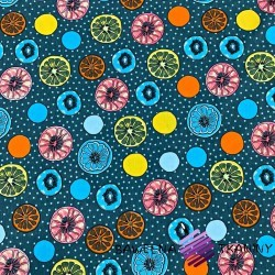 Dzianina Jersey kolorowe cytryny na niebiesko szarym
