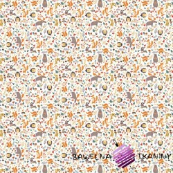 Bawełna łosie z kolorowymi zwierzętami na łące na białym tle