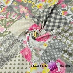Bawełna patchwork kwiaty szaro khaki 220cm