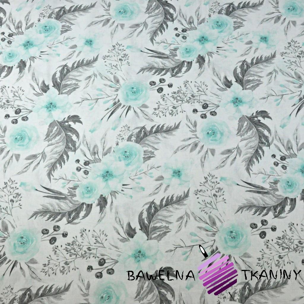 Bawełna kwiaty eustoma miętowo szara na białym tle