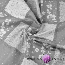 Cotton gray & white patchwork flowers & dots