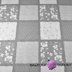 Bawełna Patchwork kwiaty kropki szaro biały