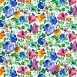 Bawełna kwiaty chabrowe na białym tle - 220cm