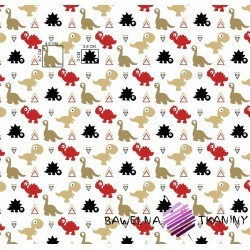 Cotton red-beige dinosaurs on a white background