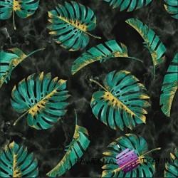 Dzianina Jersey druk cyfrowy - Liście monstera zielono złote na marmurowym tle