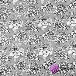 Bawełna kwiaty biało czarne na szarym tle