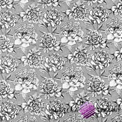 Cotton black & white flowers on gray background