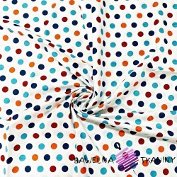 Cotton spots blue and orange on white background