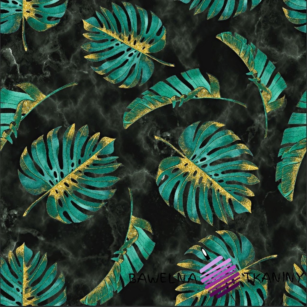 Looped knit digital print - Monstera green-gold leaves on a marble background