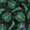 Dresówka pętelka druk cyfrowy - Liście monstera zielono złote na marmurowym tle