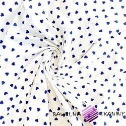 Cotton small navy blue hearts on white background