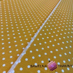 Bawełna Kropki białe na musztardowym tle