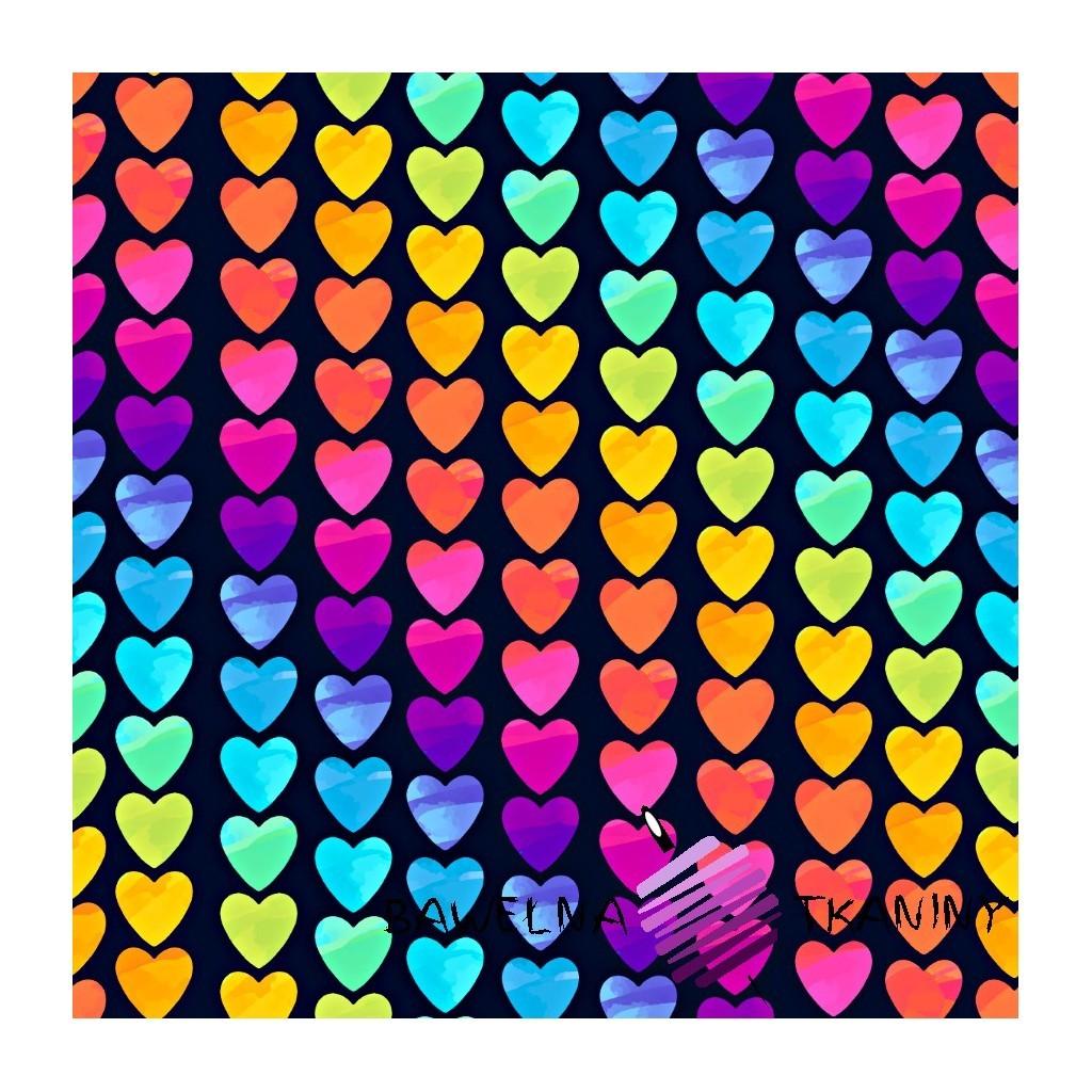 Dzianina Jersey druk cyfrowy serca kolorowe na czarnym tle