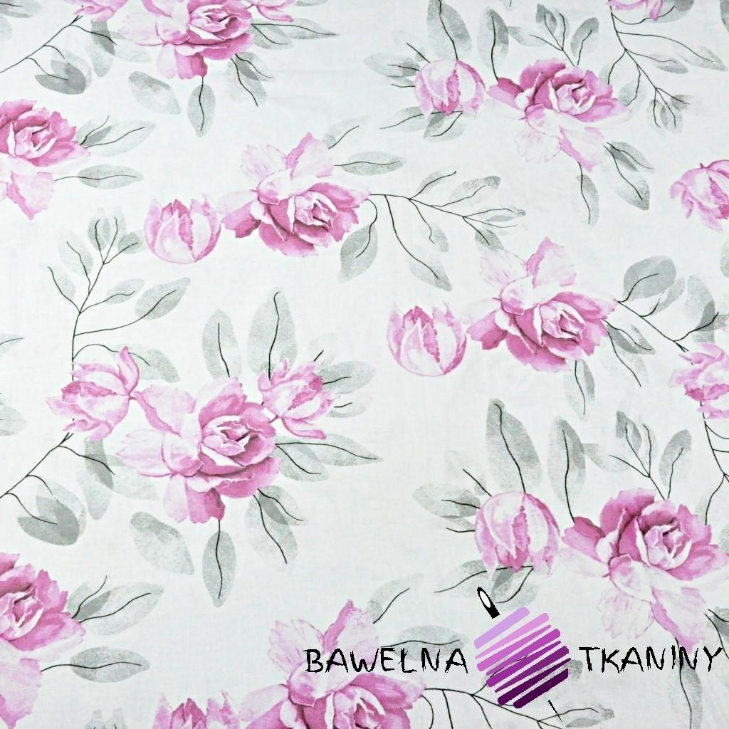 Bawełna kwiaty peonia różowo szara na białym tle