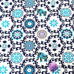 Cotton navy indinan flowers with elephants