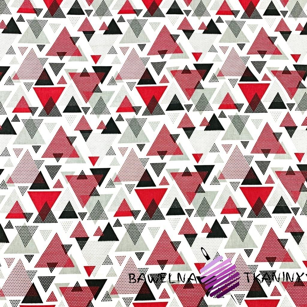 Bawełna trójkąty w kropki czerwono szare na białym tle
