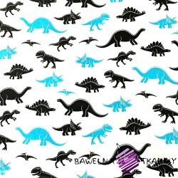 Cotton blue-black dinosaurs on a white background