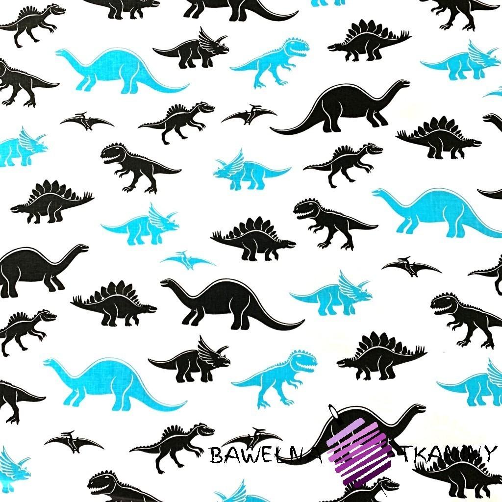 Bawełna dinozaury niebiesko czarne na białym tle