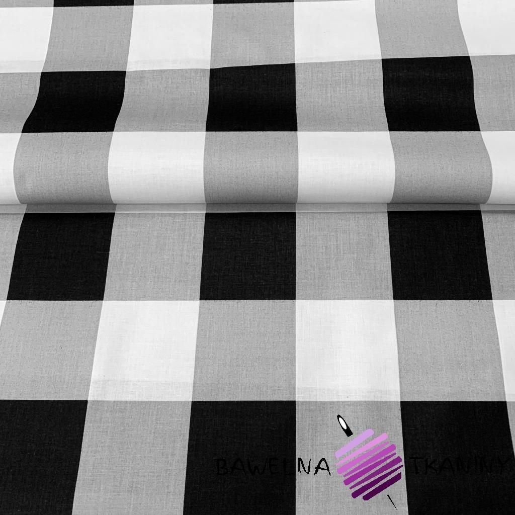 Bawełna krata duża szaro czarno biała