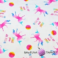 Cotton Jersey digital print -colored unicorn on white background