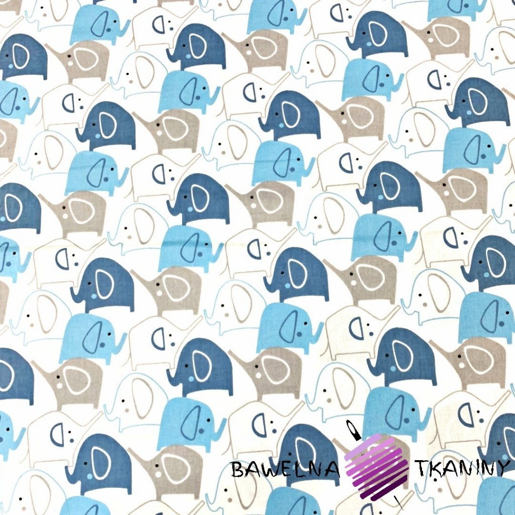 Bawełna słoniki niebiesko granatowe na białym tle